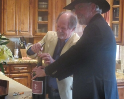 Jim Rea and Gary Ruttenberg opening a double magnum of Foxen Cabernet Sauvignon