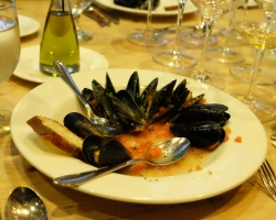 Digging into Steamed Mussels, Tomato Concasse, Fines Herbs & Sourdough