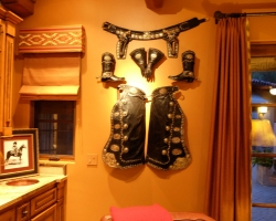 Custom western outfit: Gunbelt, gauntlets, boots with spurs and chaps with silver conchos